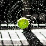 tennis ball in a spin